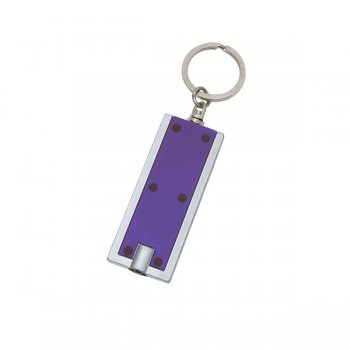 Personalized Rectangular LED Keychains - Purple