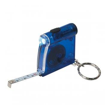 Personalized Tape Measure LED Flashlight Keychains - Translucent Blue