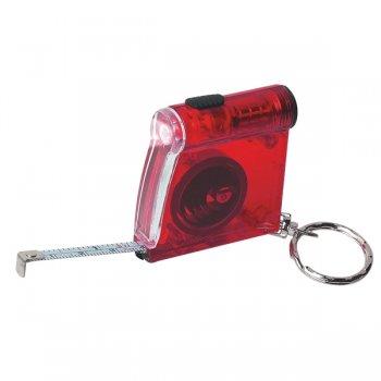 Personalized Tape Measure LED Flashlight Keychains - Translucent Red