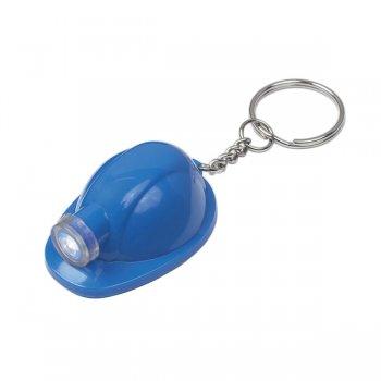 Promotional Hard Hat LED Keychains  - Blue