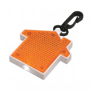 Promotional House Shape LED Blinking Light With Keychains - Orange