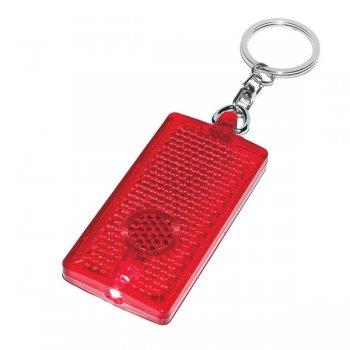 Promotional Rectangular LED Light Keychains - Translucent Red