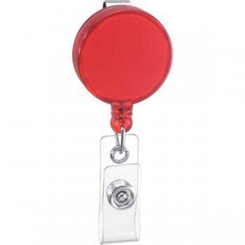 Promotional Round Badge Holder Keychains - Translucent Red