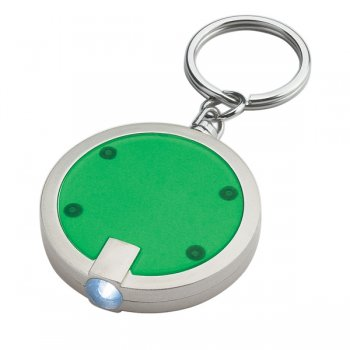 Promotional Round LED Keychains - Green