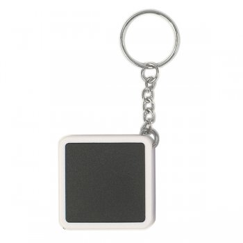 Promotional Square Tape Measure Keychains - White/ Black