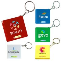 Personalized  Square Tape Measure With Level Keychains