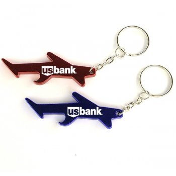 Personalized Plane / Aircraft Shape Bottle Opener Transportation Keychains