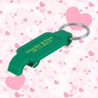 Keychain Wedding Favors w/ Slim Bottle Opener - Green