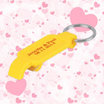 Keychain Wedding Favors w/ Slim Bottle Opener - Yellow