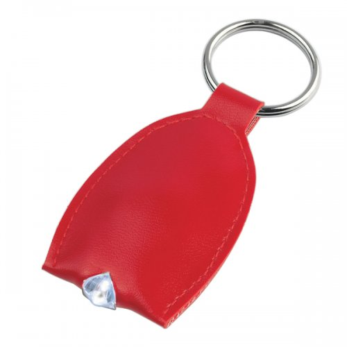 Customized Leather Look LED Keychains - Red