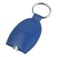 Personalized Leather Look LED Keychains - Blue