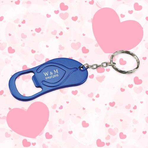 Keychain Wedding Favors Flip Flop Bottle Opener Royal Blue