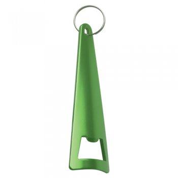 Customized Aluminum Tepee Bottle Opener Keychains- Green