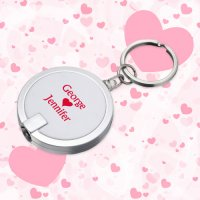 Personalized Disc Light Keychains Wedding Favors - White