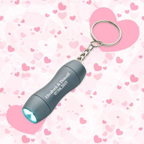 Personalized Wedding Favors Keychains Mini Aluminum LED Light - Gunmetal