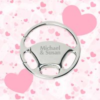 Personalized Wedding Favors Keychains Wheel Metal - Silver