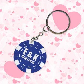 Personalized Wedding Poker Chip Keychains - Blue
