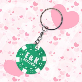 Personalized Wedding Poker Chip Keychains - Green