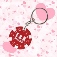 Personalized Wedding Poker Chip Keychains - Red