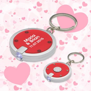 Wedding Round Simple Touch LED Keychains - Red