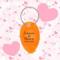 Wedding Favors Tear Drop Shape Keychains w/ Lottery Scratcher - Translucent Orange