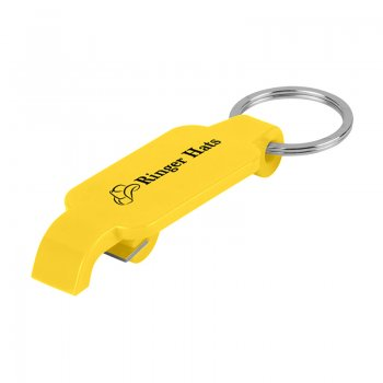 Custom Keychains With Slim Bottle Opener - Yellow