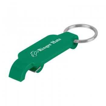 Custom Slim Bottle Opener With Metal Keychain Rings - Green