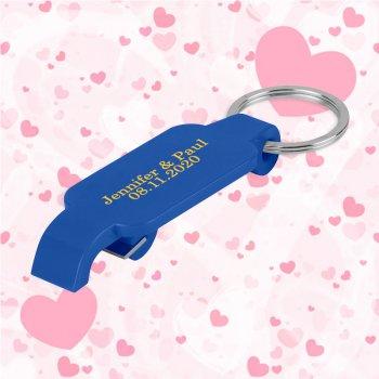 Keychain Wedding Favors w/ Slim Bottle Opener - Blue